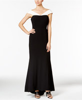 Calvin Klein Colorblocked Crepe Off-The-Shoulder Gown
