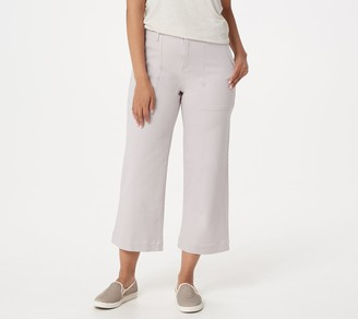 Logo by Lori Goldstein Stretch Twill Boyfriend Crop Wide-Leg Pant