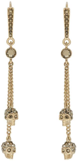 Alexander McQueen Gold Chain Skull Earrings