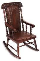 Traditional Wood Leather Rocking Chair, 'Nobility'
