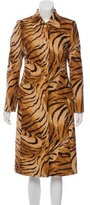 Escada Wool-Blend Tiger Print Coat