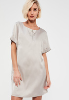 Missguided Silver Satin T Shirt D Ring Shift Dress