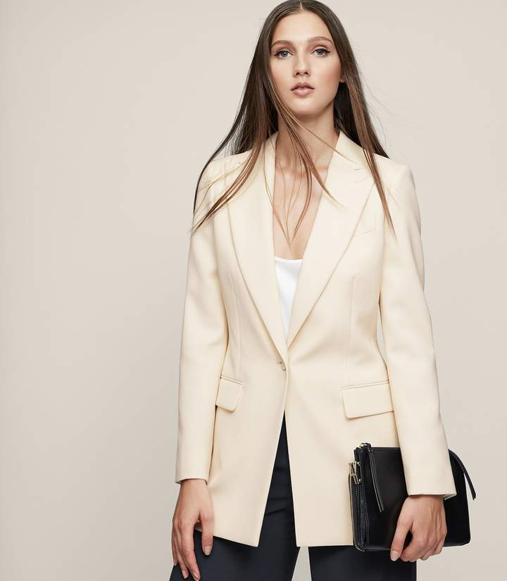 Reiss Oxley - Longline Single-breasted Blazer in Champagne