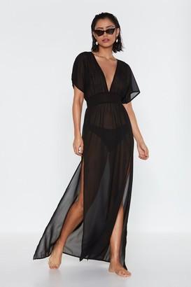 Nasty Gal Womens Tough Slit Cover-Up Maxi Dress - Black - 6