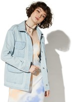 Juniors' Vylette Oversized Denim Utility Jacket