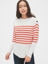 Gap Stripe Button Crewneck Sweater
