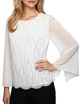 Alex Evenings Round Neck Long Sleeve Bead Embellished Chiffon Blouse