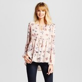 Knox Rose Women's Floral Printed Woven Peasant Top with Tassels