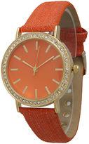 OLIVIA PRATT Olivia Pratt Womens Gold-Tone Rhinestone Accent Orange Denim Faux Leather Strap Watch 14087