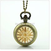 Nobrand No brand Compass Locket Necklace Photo Locket Necklace Vintage Bronze Pocket Watch Necklace
