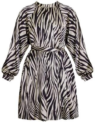 Undress Emel Zebra Animal Print Raglan Sleeve Flare Mini Dress