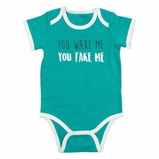 Pavilion Gift Company Pavilion - You Wake Me You Take Me - 12-24 Months Blue Short Sleeve Bodysuit