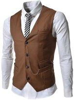 Spinty Mens Casual Cotton Blend Easy Care 4 Button Suit Vest