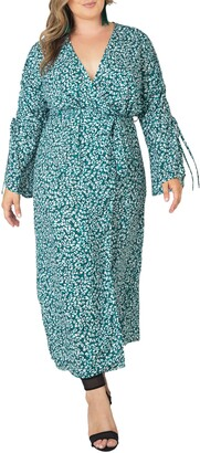 Standards & Practices Ruched Long Sleeve Wrap Maxi Dress