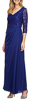 Alex Evenings Embroidered Sequin Ruched Gown