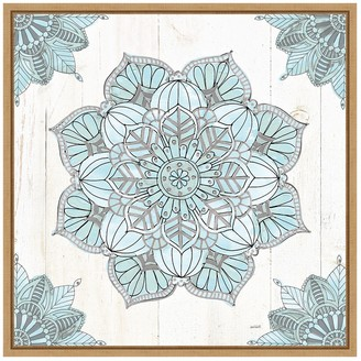 "Amanti Art Mandala Morning V Blue and Gray 16"" x 16"" Framed Wall Art"
