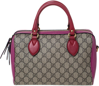 Gucci Pink/Beige GG Supreme Canvas and Leather Boston Bag