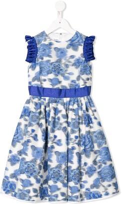 Familiar Sleeveless Ruffled Floral Print Dress