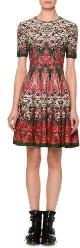 Alexander McQueen Short-Sleeve Floral Jacquard Dress