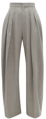 J.W.Anderson High-rise Pleated Wool-gabardine Trousers - Womens - Grey