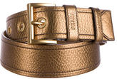 Prada Metallic Textured Leather Belt