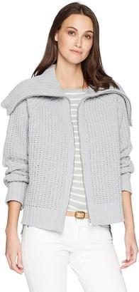 Moon River Women's Zip-up Super Soft Step Hem Boxy Cardigan Sweater