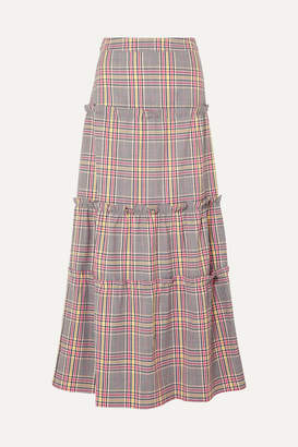 Paper London Ruffled Checked Woven Maxi Skirt - Navy