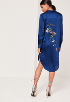 Missguided Silky Embroidery Back Shirt Dress Navy