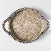 Threshold Round Natural Rattan Serving Tray with Handles 10in Blue