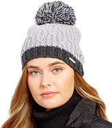 Michael Kors Colorblocked Ribbed & Cable-Knit Hat with Pom