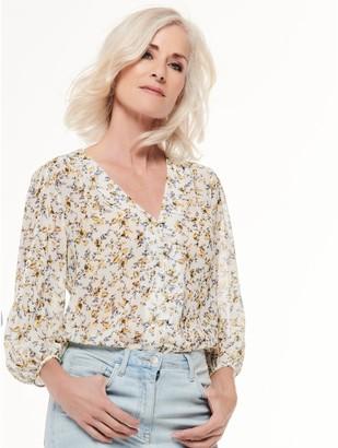 M&Co Floral button front blouse