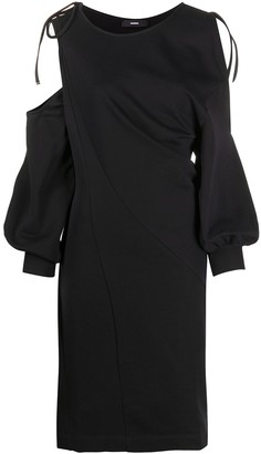 Diesel Twist-Draped Cold-Shoulder Dress