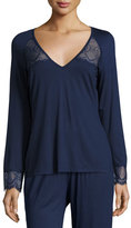 Cosabella Cheyene Long-Sleeve Lounge Top, Navy