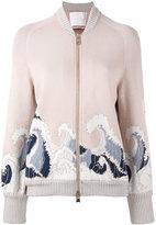 Giada Benincasa - waves pattern bomber jacket - women - Cotton/Polyester/Spandex/Elastane/Viscose - S