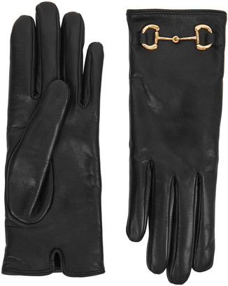 Gucci Black cashmere-lined leather gloves