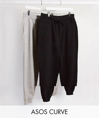 ASOS DESIGN Curve basic jogger with tie 2 pack SAVE