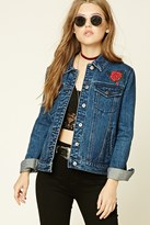 Forever 21 FOREVER 21+ Tiger Embroidered Denim Jacket