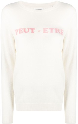 Chinti and Parker Slogan-Print Fine-Knit Jumper