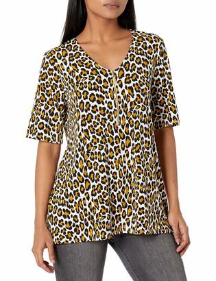 Chaus Women's S/S Wild Cat Zipper Top