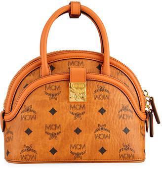 MCM Anna Visetos Small Tote Bag with Crossbody Strap