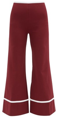 STAUD Julian High-waist Flared Jersey Trousers - Burgundy