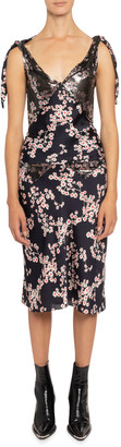 Paco Rabanne Floral-Print Chain Mesh Tie-Shoulder Top