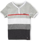 DKNY Light Heather Tonal Stripe Baseball Tee - Toddler & Boys