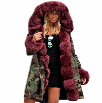 Tuduz Outerwear TUDUZ Women Faux Fur Coat Jacket Winter Thicken Warm Hooded Parka Long Outwear Fishtail Long Sleeves Overcoat(Wine) 2XL