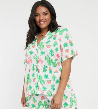 Asos DESIGN Curve cactus & flamingo 100% modal traditional pyjama set-Multi