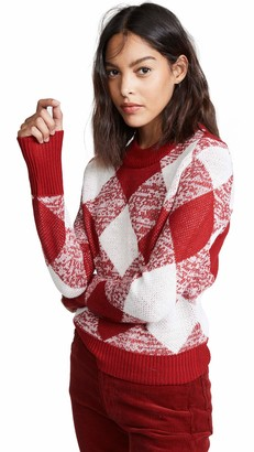 The Fifth Label Women's Angle Checkered Gingham Crewneck Soft Sweater Top
