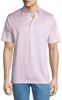 Peter Millar Jacquard Lisle-Knit Cotton Polo Shirt, Pink