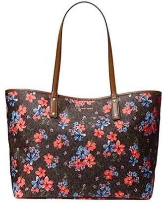 MICHAEL Michael Kors Carter Large Open Tote (Vanilla Multi) Handbags