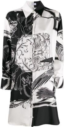 Salvatore Ferragamo Floral Print Long-Line Shirt