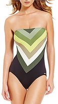 Vince Camuto Camilla Stripe Bandeau Lace-Up Back One-Piece